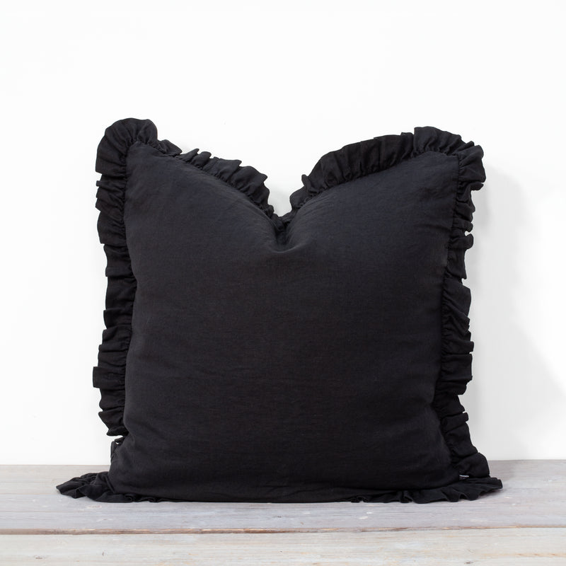 Olivia Ruffle 100% Linen Pillow Black