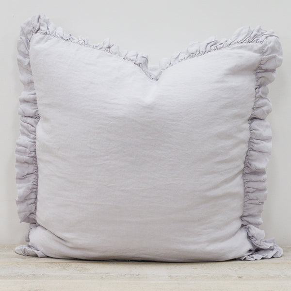 Olivia Ruffle 100% Linen Pillow Silver Grey