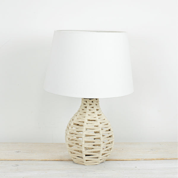Ori Small Natural Rope Lamp with White Shade