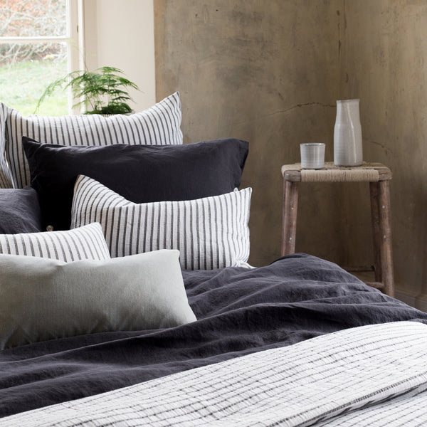 Hikari Grey Stripe Cotton Cushion