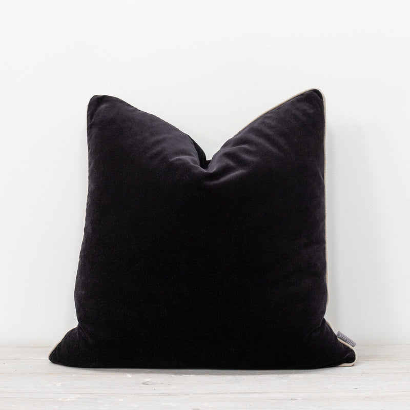 Unari Black Velvet Cushion