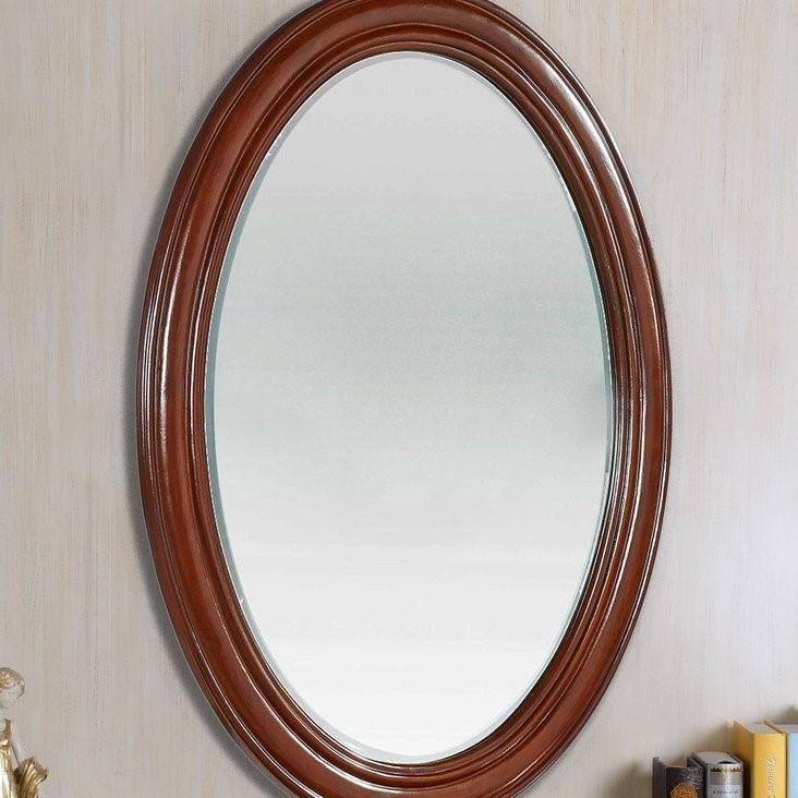 Loire Oval Antique Style Mahogany Wall Mirror-Antique Mirror-Chic Concept