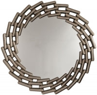 Antique Silver Link Round Wall Mirror