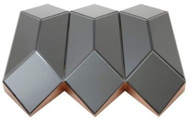 Origami Three Dimensional Black Glass Wall Mirror