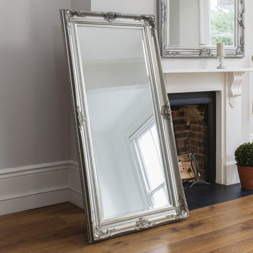 Harrow Leaner Traditional Solid Wood Frame Silver Mirror-Full Length Mirror-Chic Concept