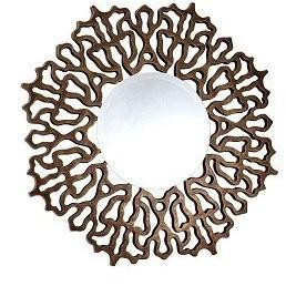 Colmar Distressed Bronze Leaf Wall Mirror-Art Deco Mirror-Chic Concept