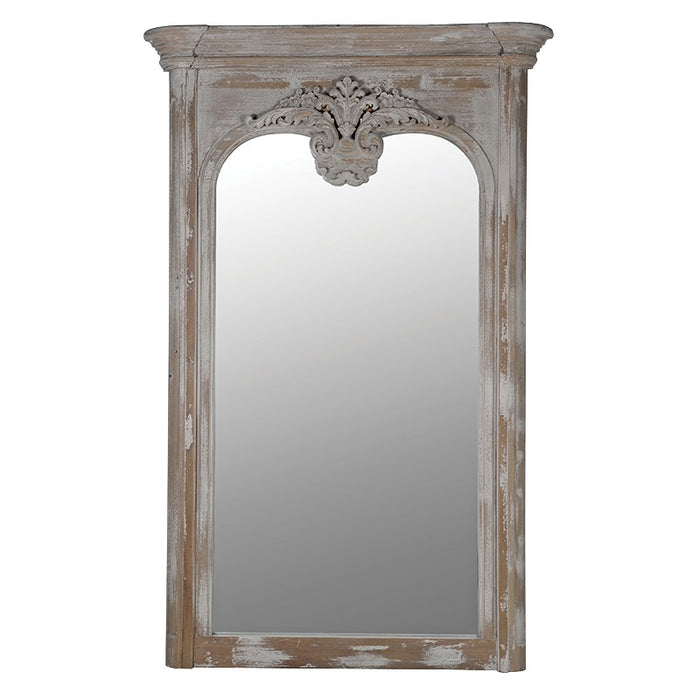 Acanthus Tall Whitewashed Antique Leaf Mirror