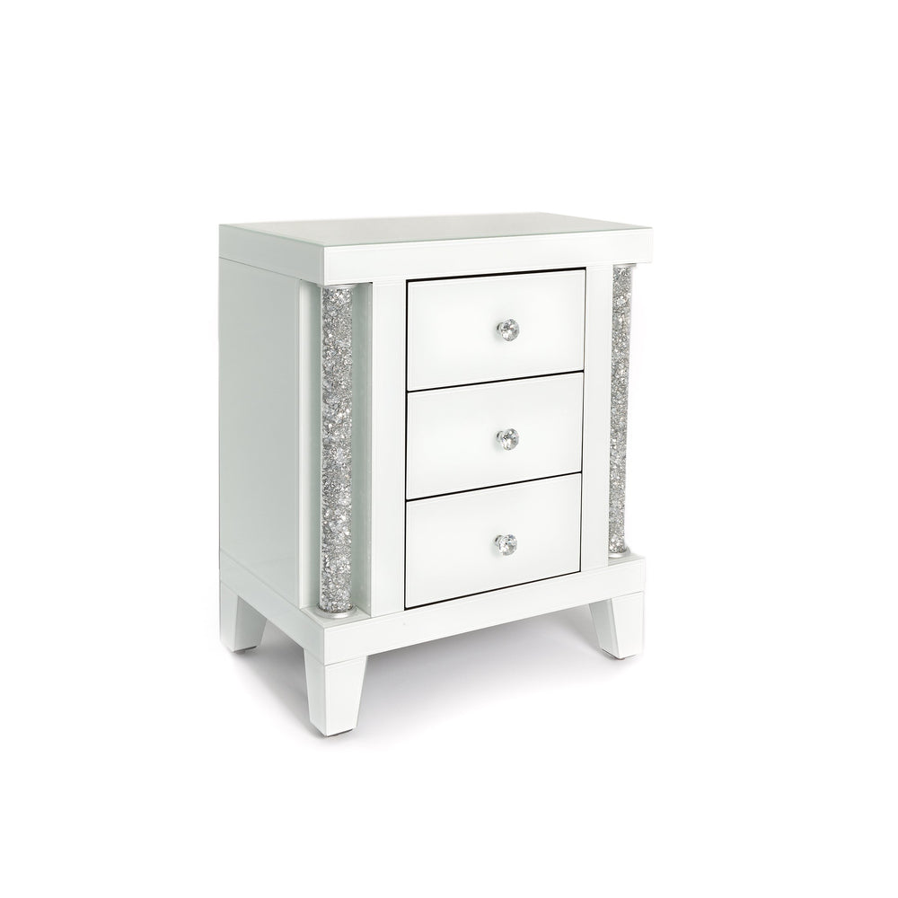 Arianna 3 Drawer Mirrored Bedside Cabinet