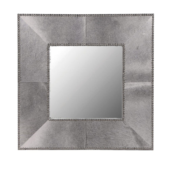 Modern Studded Hide Square Wall Mirror