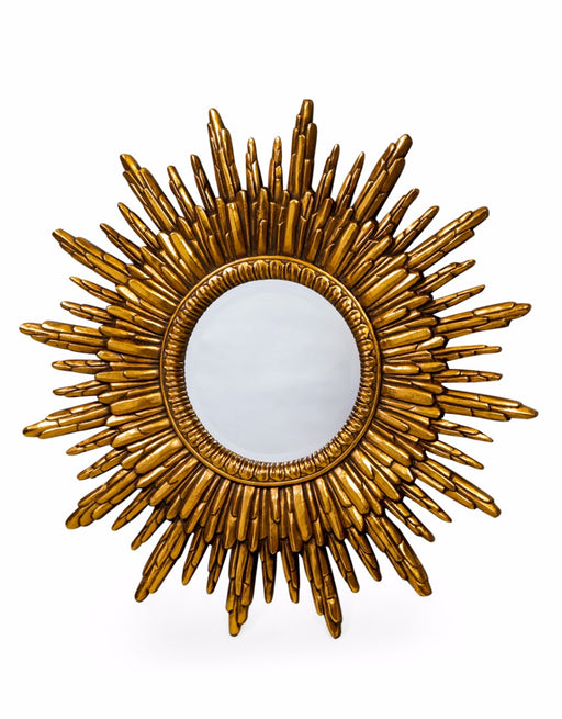 Antique Round Gold Sun Wall Mirror