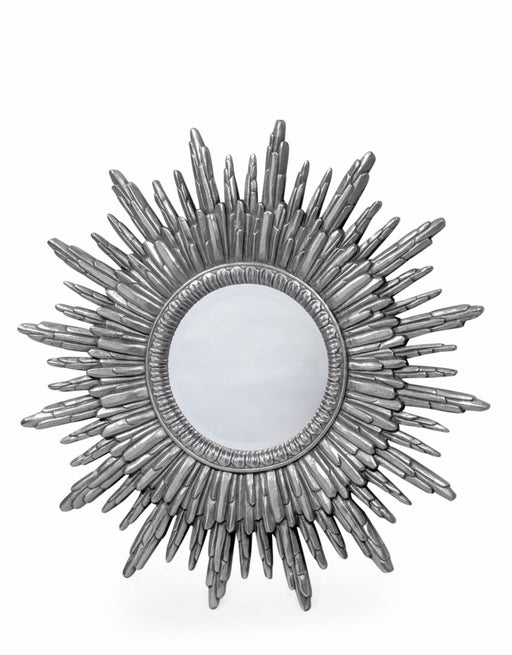 Antique Silver Sun Round Wall Mirror