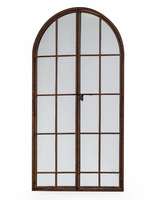 Antique Iron Large Arch Window Mirror