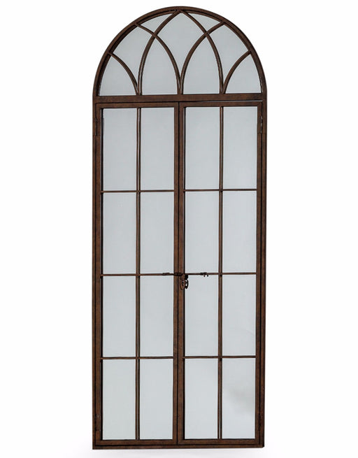 Antique Iron Tall Arch Window Mirror
