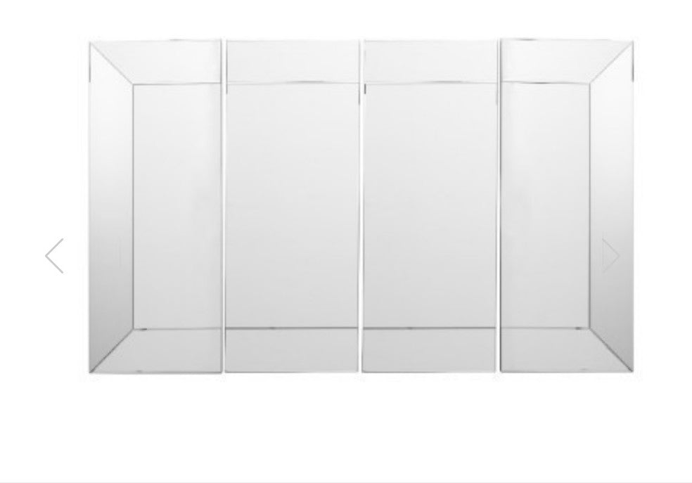 Bevelled Rectangular 4 Panel Wall Mirror - Centre Panel
