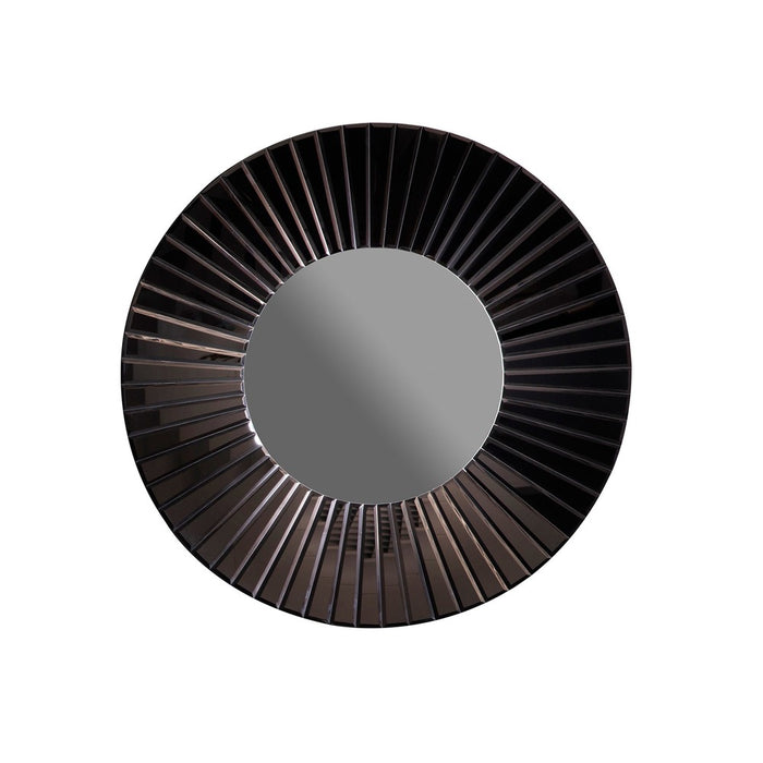 Faxton Black Art Deco Round Wall Mirror