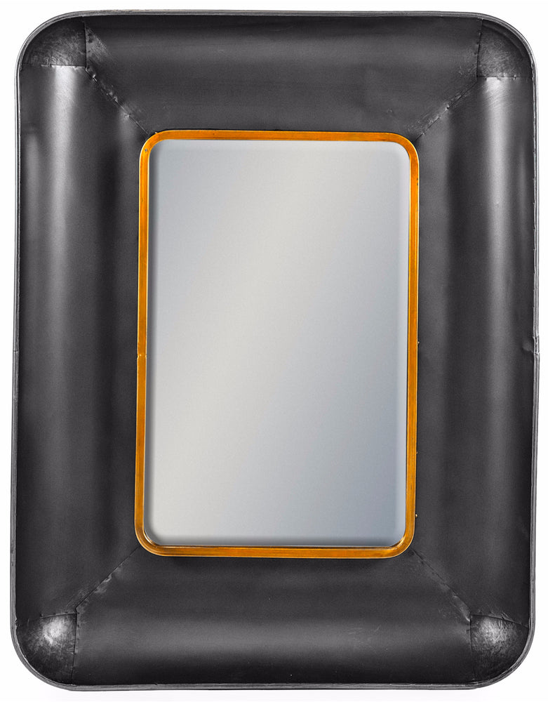 Art Deco Black and Bronze Rectangular Lincoln Wall Mirror