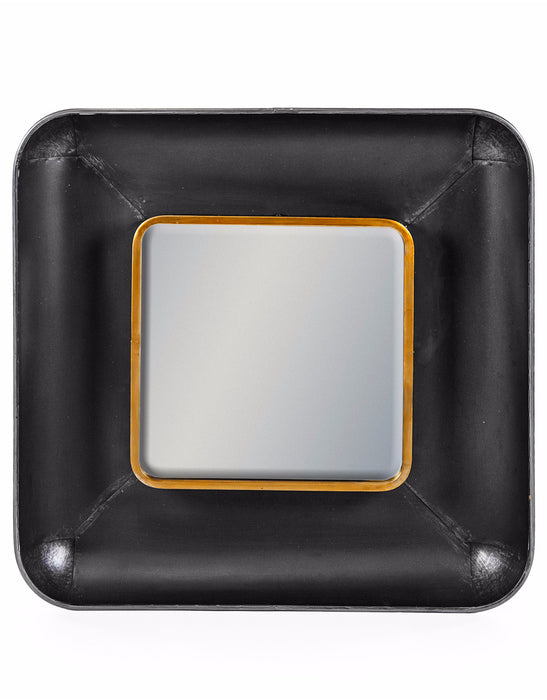 Art Deco Black and Bronze Square Lincoln Wall Mirror - 70 cm x 70 cm