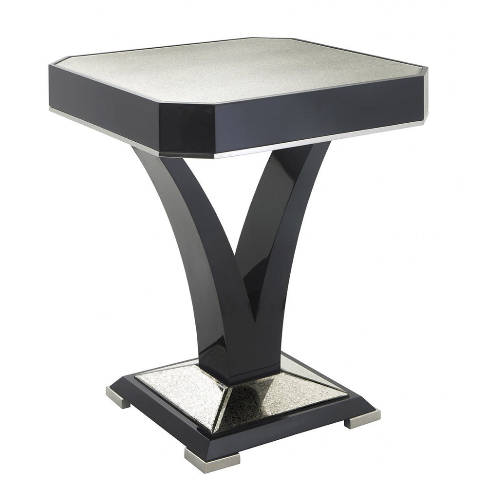 Kildare Black High Gloss Mirrored Side/Lamp Table