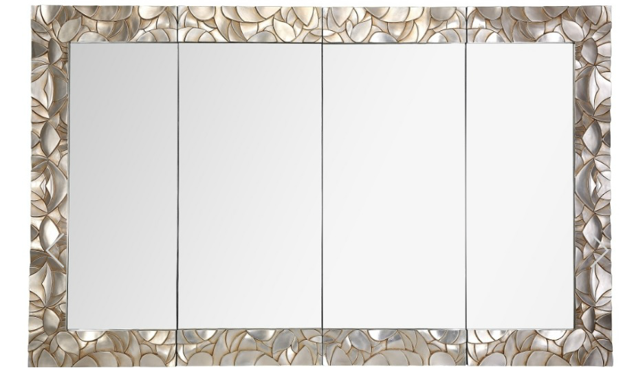 Caen End Section Champagne Rectangular Wall Mirror