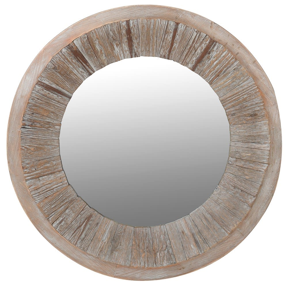 Round Fir Wood Wall Mirror
