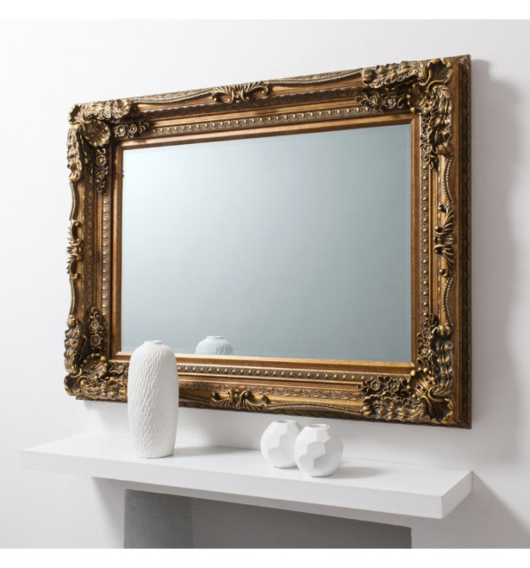 Carved Louis Gold Rectangular Wall Mirror