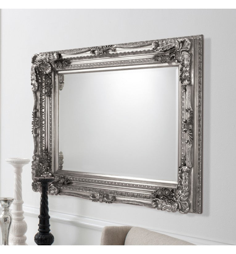 Carved Louis Silver Rectangular Wall Mirror