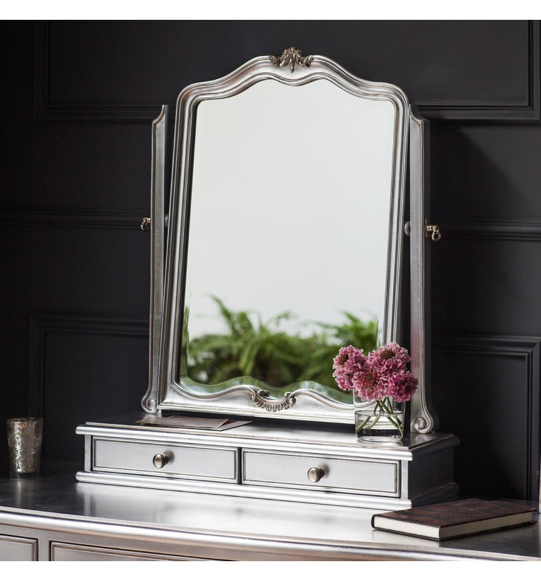 Silver Shabby Chic 2 Drawers Dressing Table Mirror