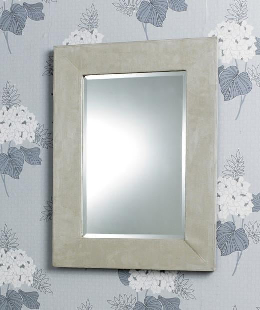 Modern Rectangular Cream Suede Border Bevelled Wall Mirror-Modern Mirror-Chic Concept