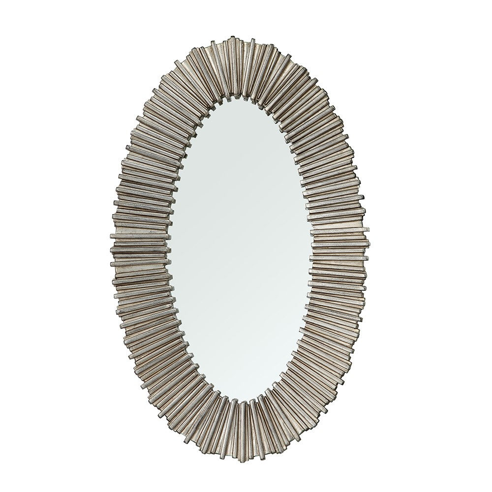Dagny Distressed Silver Oval Wall Mirror