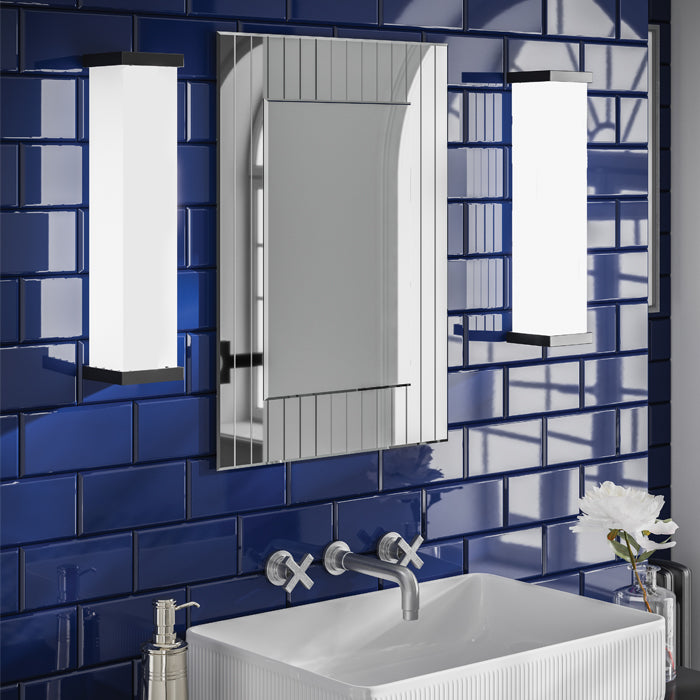Deco Rectangular Striped Border Bathroom Wall Mirror - 70 cm x 50 cm