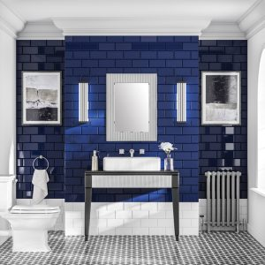 Deco Rectangular Striped Border Bathroom Wall Mirror - 80 cm x 60 cm