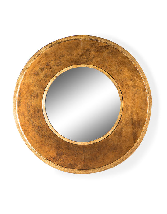 Modern Deep Framed Gold Metal Round Wall Mirror