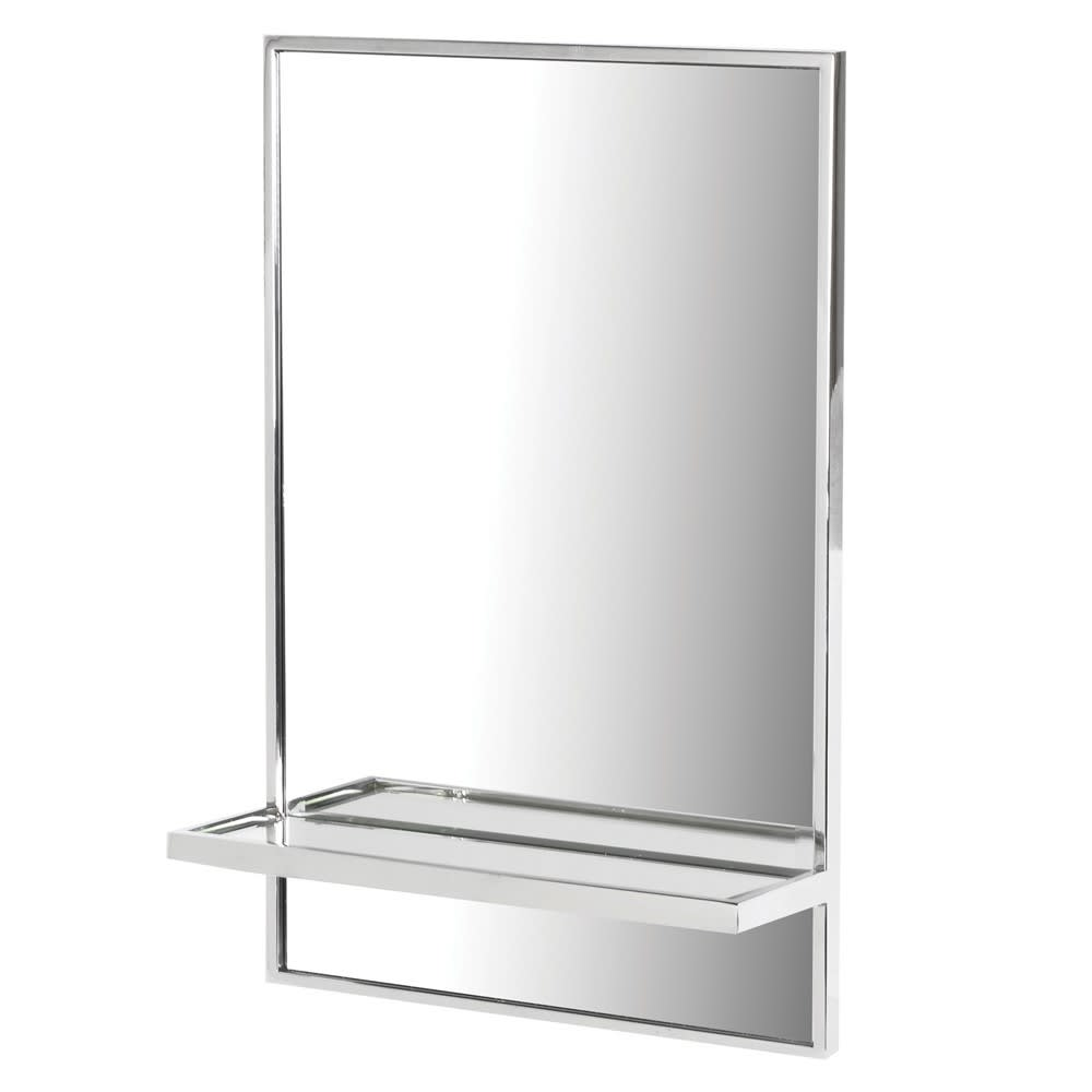 Stainless Rectangular Wall Mirror with Shelf
