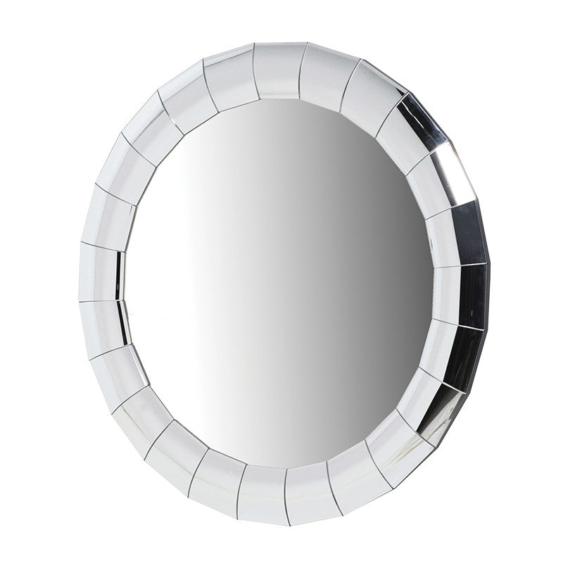 Round Segmented Bevelled Glass Wall Mirror