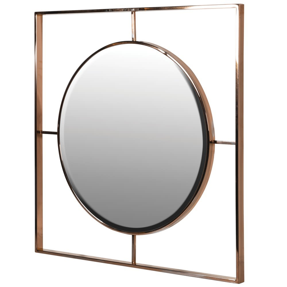 Modern Bronze Circle in Square Wall Mirror