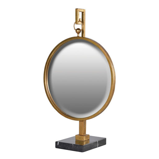 Round Gold Mirror on Stand