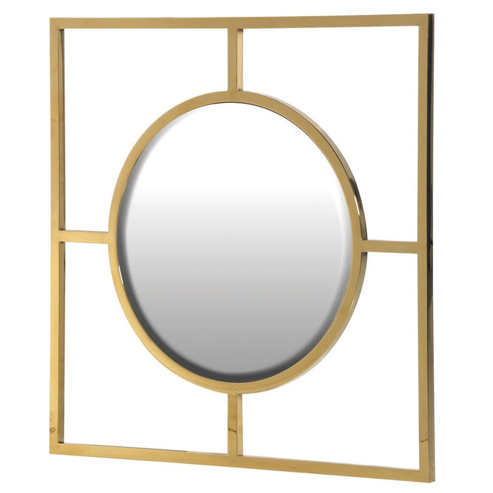 Gold Square Frame Round Wall Mirror