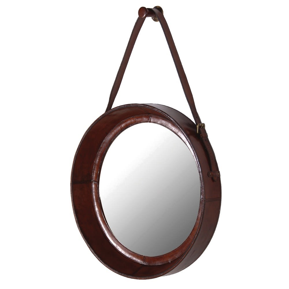 Jaipur Leather Round Hanging Mirror