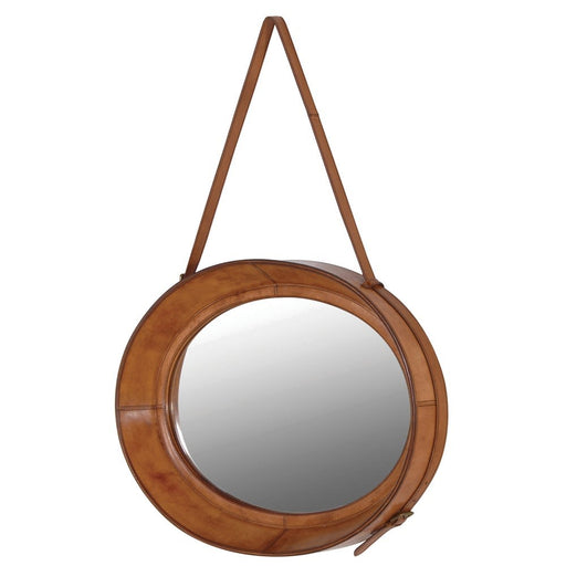 Jaipur Tan Leather Oval Hanging Mirror