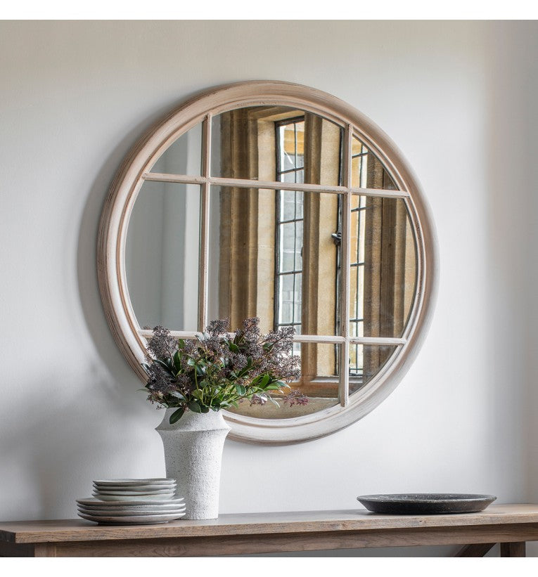 Eccleston Natural Round Window Wall Mirror