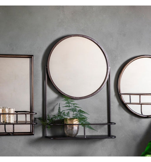 Emerson Metal Round Mirror with Shelf