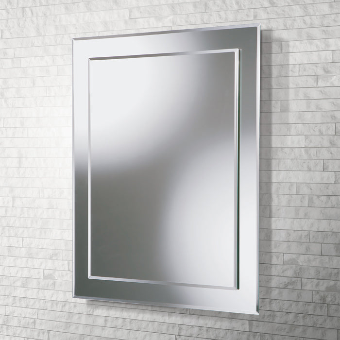 Olivia Clear Glass Rectangular Bathroom Wall Mirror - 60 cm x 40 cm