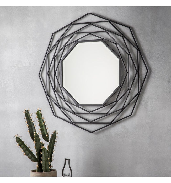 Estella Black Octagonal Wall Mirror