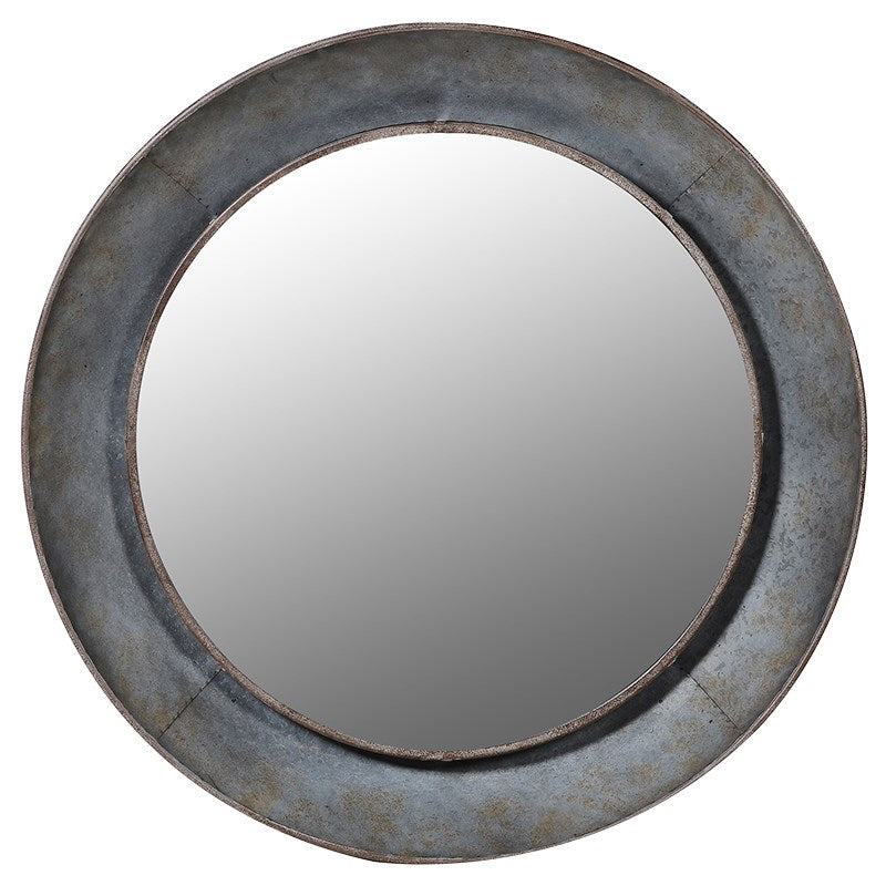 Distressed Grey Round Wall Mirror