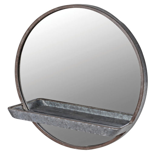Round Wall Mirror with Shelf
