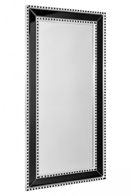 Modern Black & Silver Sparkle Rectangular Wall Mirror