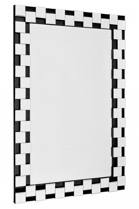 Modern Relief Black & Silver Block Edge Rectangular Wall Mirror