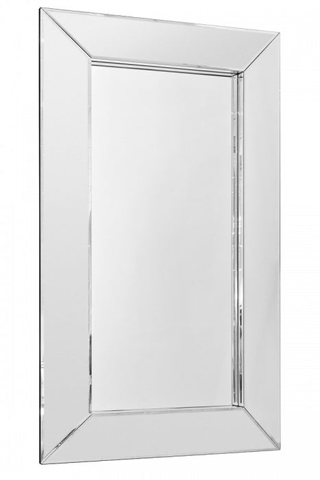 Modern Rectangular Clear Border Bevelled Edge Wall Mirror