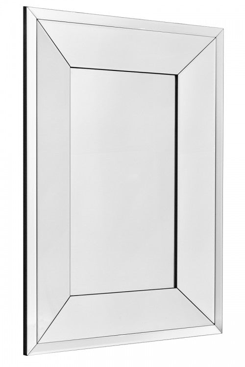 Modern Rectangular Double Border Bevelled Edge Wall Mirror