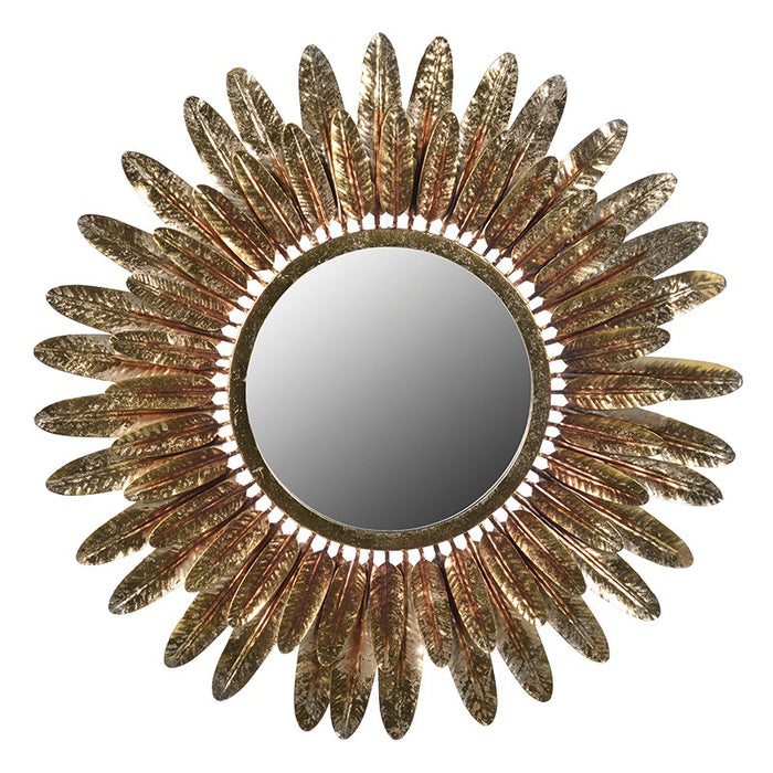 Round Gold Feathers Wall Mirror